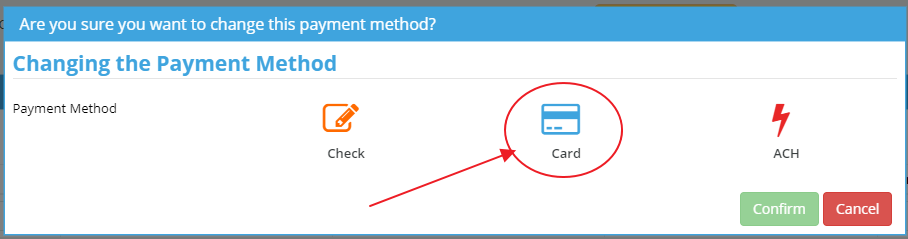 select credit card during change payment method